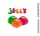 three colorful jelly in shiny...