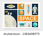 flat space elements set with... | Shutterstock .eps vector #1383608975