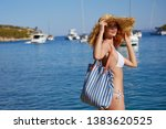 girl at the seaside. adriatic ... | Shutterstock . vector #1383620525