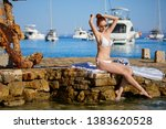 girl at the seaside. adriatic ... | Shutterstock . vector #1383620528