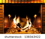 close up image of fireplace and ... | Shutterstock . vector #138363422