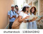 group of friends tourists with... | Shutterstock . vector #1383642842