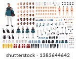 stylish bearded man in trendy... | Shutterstock .eps vector #1383644642