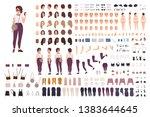 stylish girl animation kit or... | Shutterstock .eps vector #1383644645