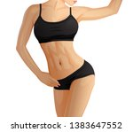 slim woman sexy sport body with ... | Shutterstock .eps vector #1383647552