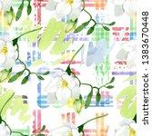 white freesia floral botanical... | Shutterstock . vector #1383670448