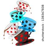 Stock vector set of colorful wonderland tea cups pyramid 138367838