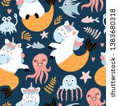 seamless pattern with funny... | Shutterstock .eps vector #1383680318