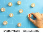 hand picked a wooden cubes with ...   Shutterstock . vector #1383683882