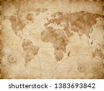 Stock photo ancient vintage world map illustration 1383693842