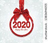 happy new year 2020 round... | Shutterstock . vector #1383694055