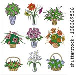 flower bouquets in vases....   Shutterstock .eps vector #138369536