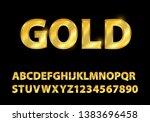 set gold font shapes...   Shutterstock .eps vector #1383696458