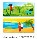 vector set of bright banner... | Shutterstock .eps vector #1383705695