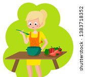 blonde girl with prepares... | Shutterstock .eps vector #1383718352