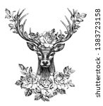 hand drawn red deer decorated...   Shutterstock . vector #1383723158