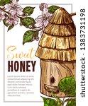 honey vector poster with bee... | Shutterstock .eps vector #1383731198