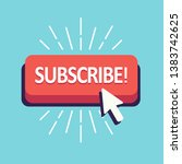 subscribe button red design for ... | Shutterstock .eps vector #1383742625