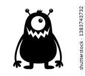 monster black silhouette. cute... | Shutterstock .eps vector #1383743732