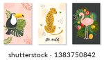 vector poster set of tropical... | Shutterstock .eps vector #1383750842