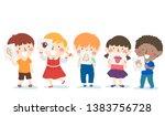 illustration of kids holding... | Shutterstock .eps vector #1383756728