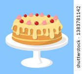 tasty cake on the plate. sweet... | Shutterstock .eps vector #1383781142