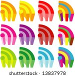 vector colorful 3d rss icons...   Shutterstock .eps vector #13837978
