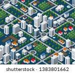 seamless urban plan pattern map.... | Shutterstock .eps vector #1383801662