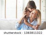 beautiful daughter embracing... | Shutterstock . vector #1383811322