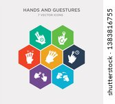 simple set of push all fingers... | Shutterstock .eps vector #1383816755