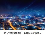 modern city with wireless... | Shutterstock . vector #1383834062