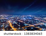 modern city with wireless... | Shutterstock . vector #1383834065
