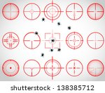 set of fifteen red cross hairs  ... | Shutterstock . vector #138385712