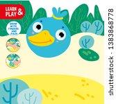 finger drawing game duck sample ... | Shutterstock .eps vector #1383868778
