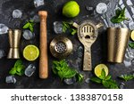 bartender and barman tools for... | Shutterstock . vector #1383870158