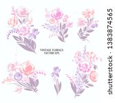 hand drawn floral bouquets with ... | Shutterstock .eps vector #1383874565