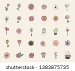 vintage decorative flowers set. ... | Shutterstock .eps vector #1383875735