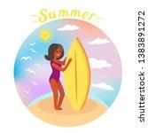 girl surfer rides the waves....   Shutterstock .eps vector #1383891272