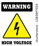 warning high voltage sign or... | Shutterstock .eps vector #1383897035