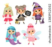 set of illustrations with girls.... | Shutterstock .eps vector #1383912032