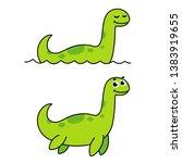 Stock vector nessie loch ness monster cute cartoon drawing funny green swimming dinosaur plesiosaur 1383919655