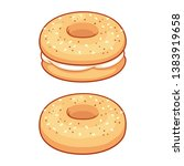 everything bagel with cream... | Shutterstock .eps vector #1383919658