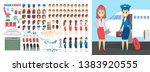 stewardess character set for... | Shutterstock .eps vector #1383920555