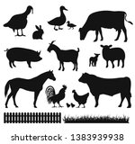 farm animals set. group black... | Shutterstock .eps vector #1383939938