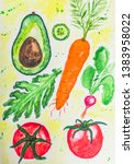 watercolor drawing with avocado ... | Shutterstock . vector #1383958022