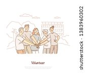 volunteers doing charity ... | Shutterstock .eps vector #1383960302