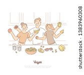 happy people on kitchen  mother ... | Shutterstock .eps vector #1383960308