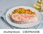 steam salmon and vegetables ...   Shutterstock . vector #1383964208