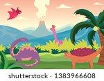 cartoon dinosaurs in summer...   Shutterstock .eps vector #1383966608