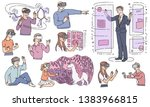 vector people wearing virtual...   Shutterstock .eps vector #1383966815